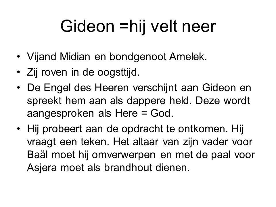 Gideon =hij velt neer Vijand Midian en bondgenoot Amelek.