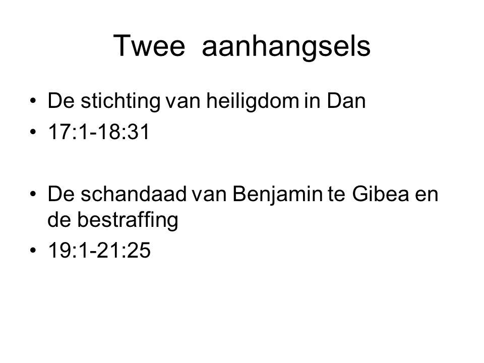 Twee aanhangsels De stichting van heiligdom in Dan 17:1-18:31
