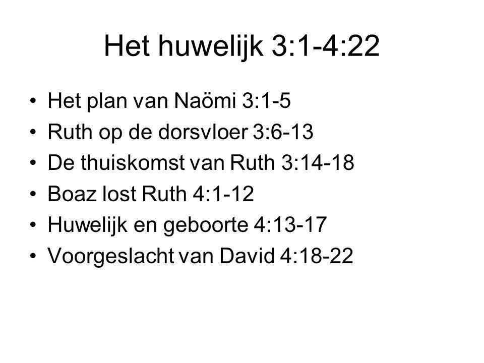 Het huwelijk 3:1-4:22 Het plan van Naömi 3:1-5