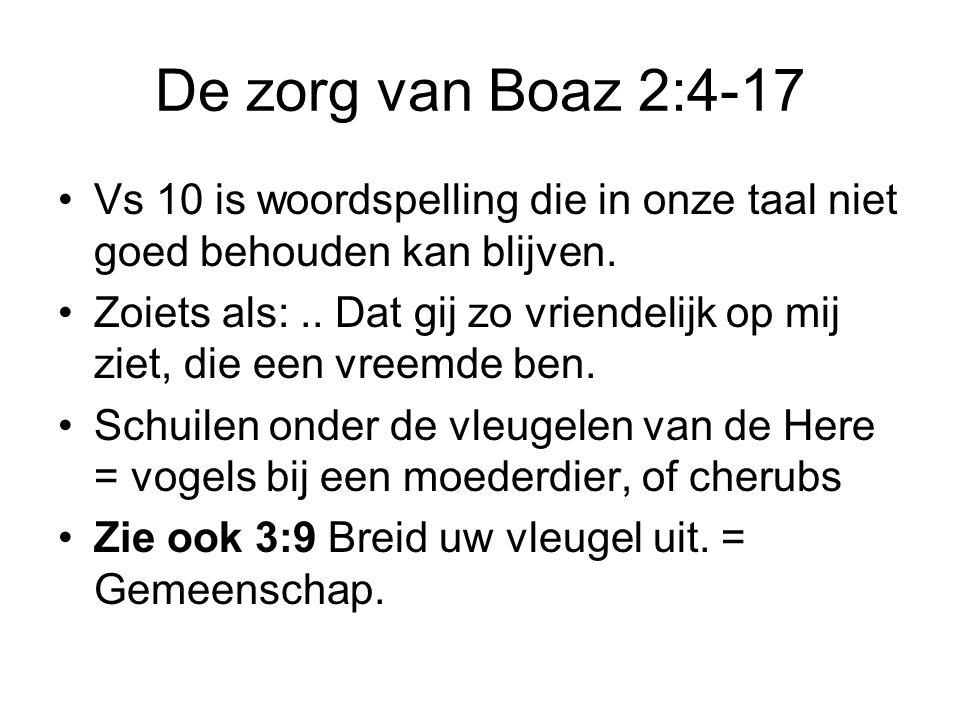 De zorg van Boaz 2:4-17 Vs 10 is woordspelling die in onze taal niet goed behouden kan blijven.