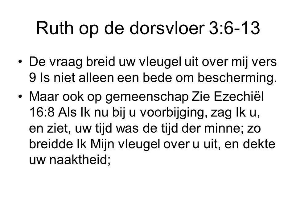 Ruth op de dorsvloer 3:6-13 De vraag breid uw vleugel uit over mij vers 9 Is niet alleen een bede om bescherming.