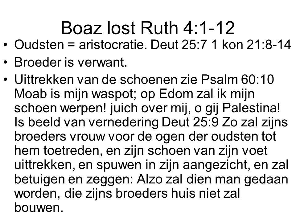 Boaz lost Ruth 4:1-12 Oudsten = aristocratie. Deut 25:7 1 kon 21:8-14
