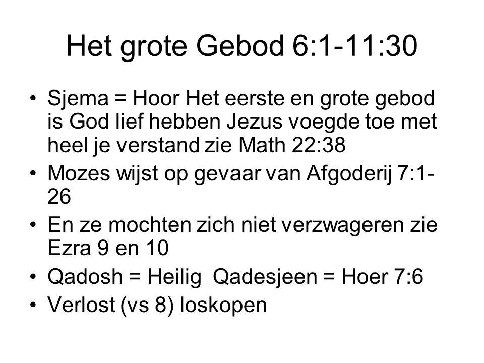 Het grote Gebod 6:1-11:30 Sjema = Hoor Het eerste en grote gebod is God lief hebben Jezus voegde toe met heel je verstand zie Math 22:38.