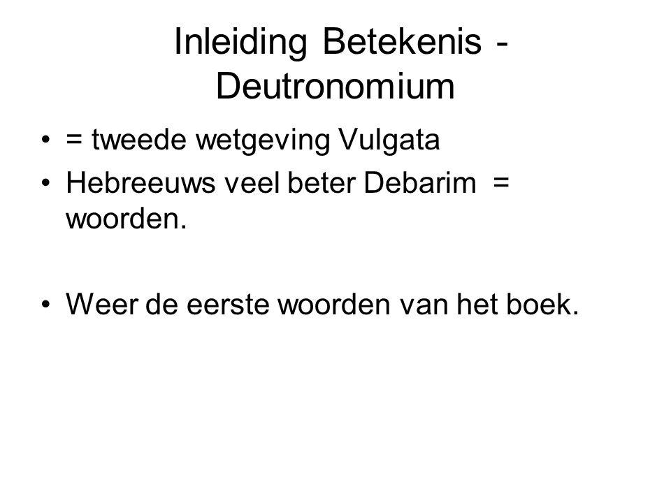 Inleiding Betekenis - Deutronomium