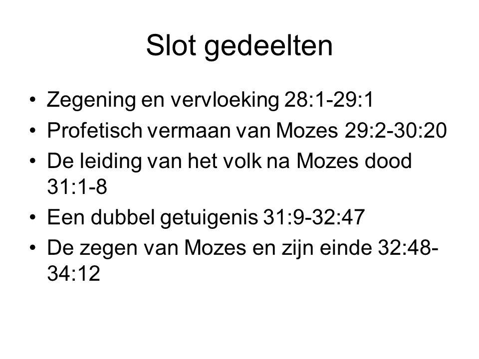 Slot gedeelten Zegening en vervloeking 28:1-29:1