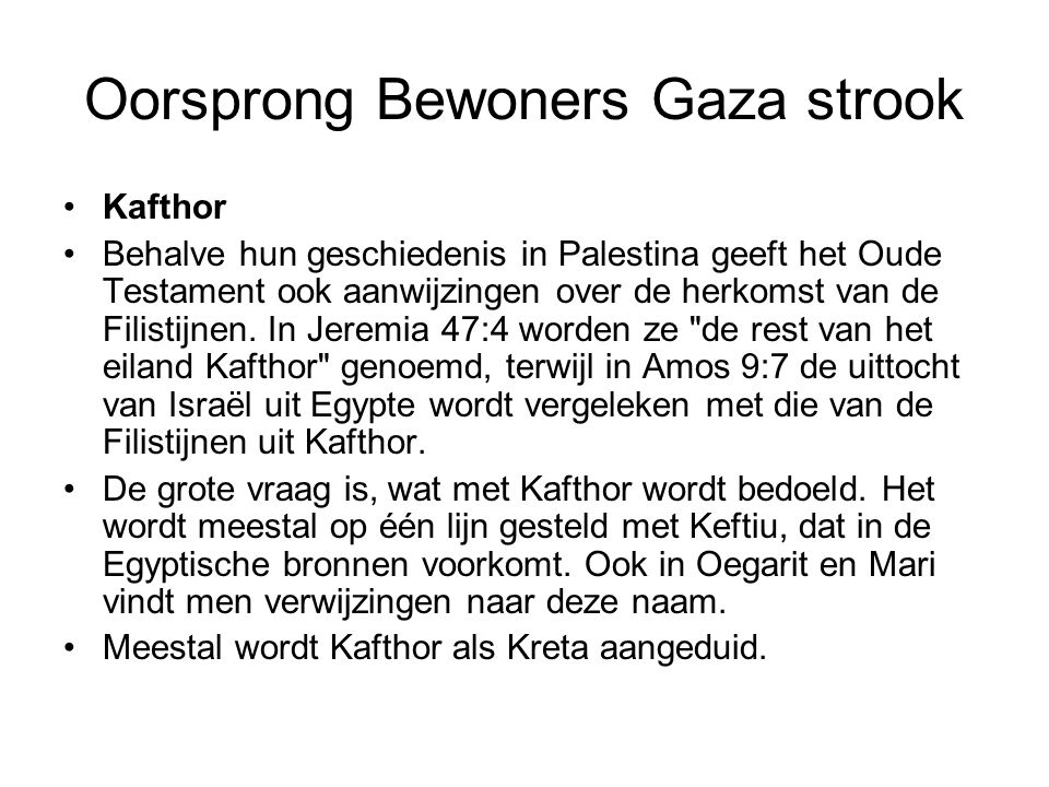Oorsprong Bewoners Gaza strook
