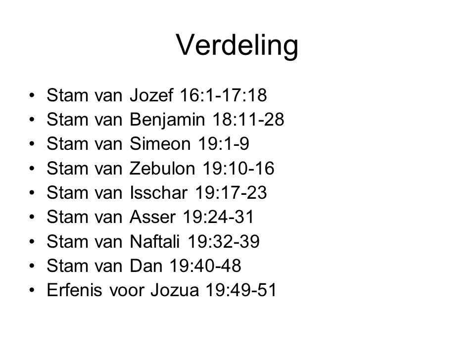 Verdeling Stam van Jozef 16:1-17:18 Stam van Benjamin 18:11-28