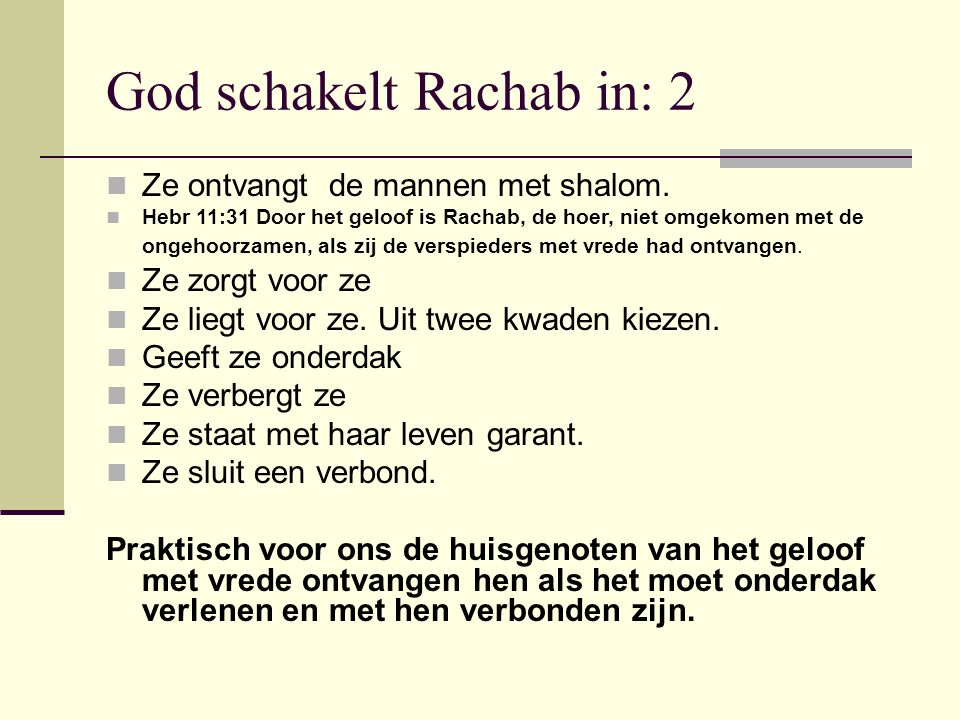 God schakelt Rachab in: 2
