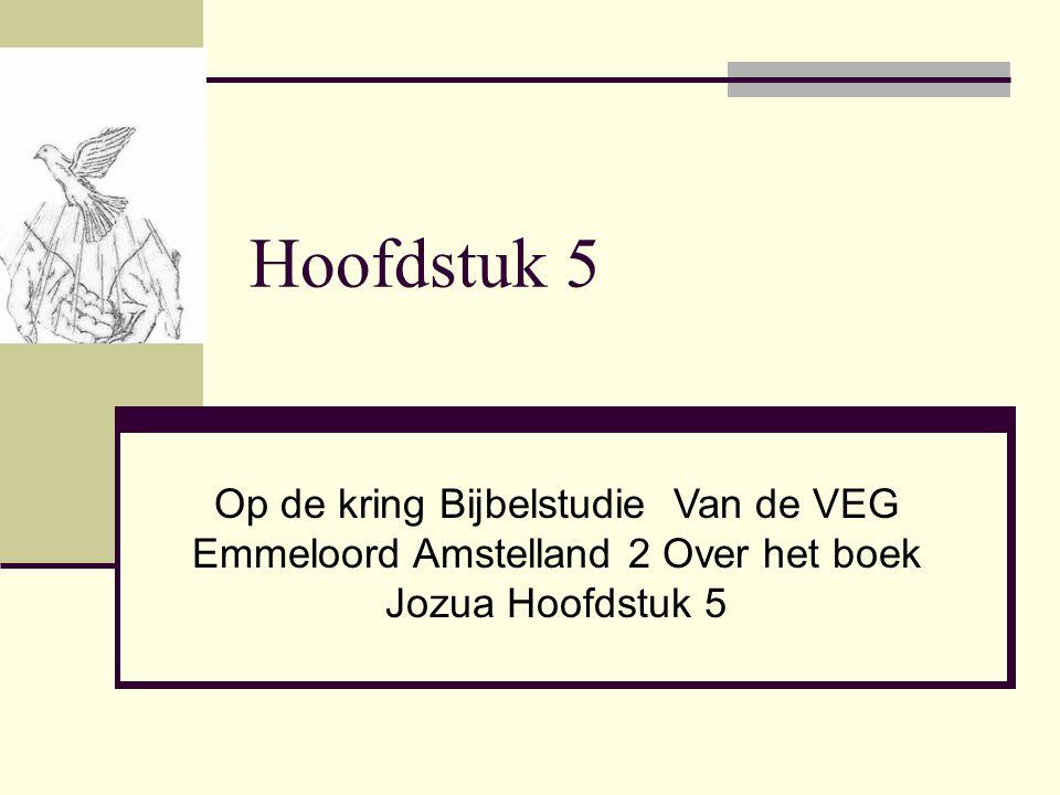 Hoofdstuk 5 Op de kring Bijbelstudie Van de VEG Emmeloord Amstelland 2 Over het boek Jozua Hoofdstuk 5.