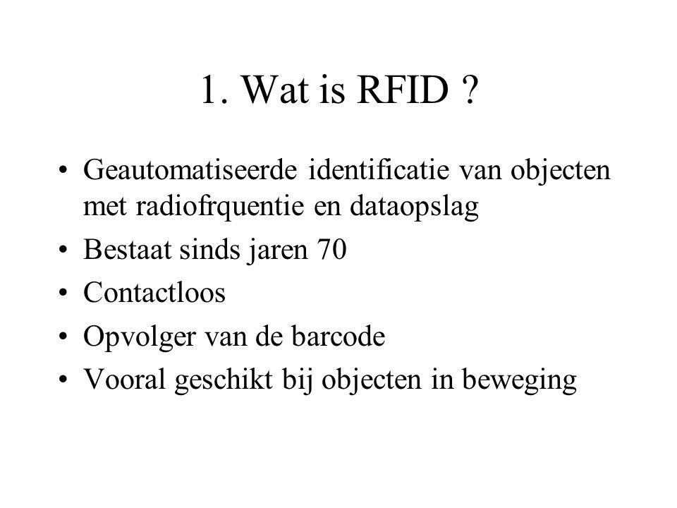 1. Wat is RFID Geautomatiseerde identificatie van objecten met radiofrquentie en dataopslag. Bestaat sinds jaren 70.