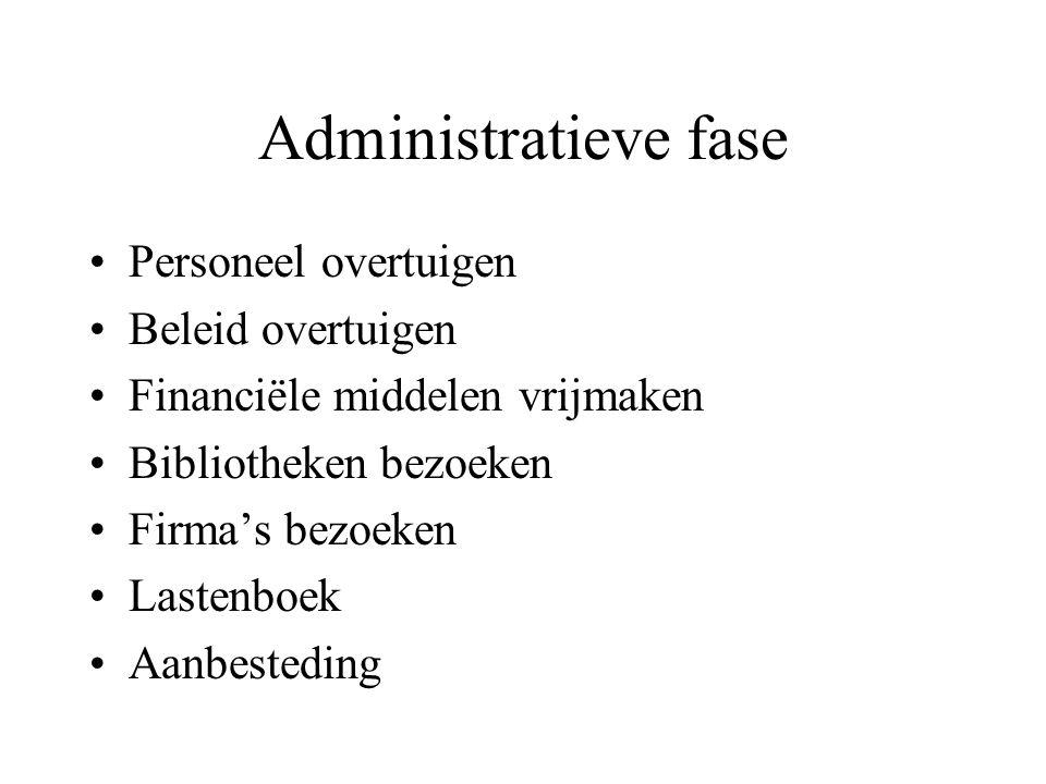Administratieve fase Personeel overtuigen Beleid overtuigen