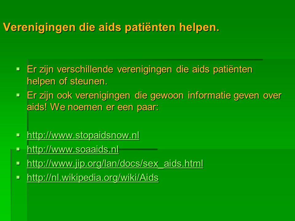 Verenigingen die aids patiënten helpen.