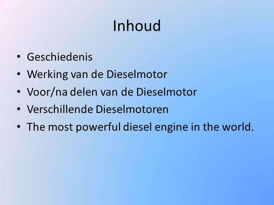 Inhoud Geschiedenis Werking van de Dieselmotor