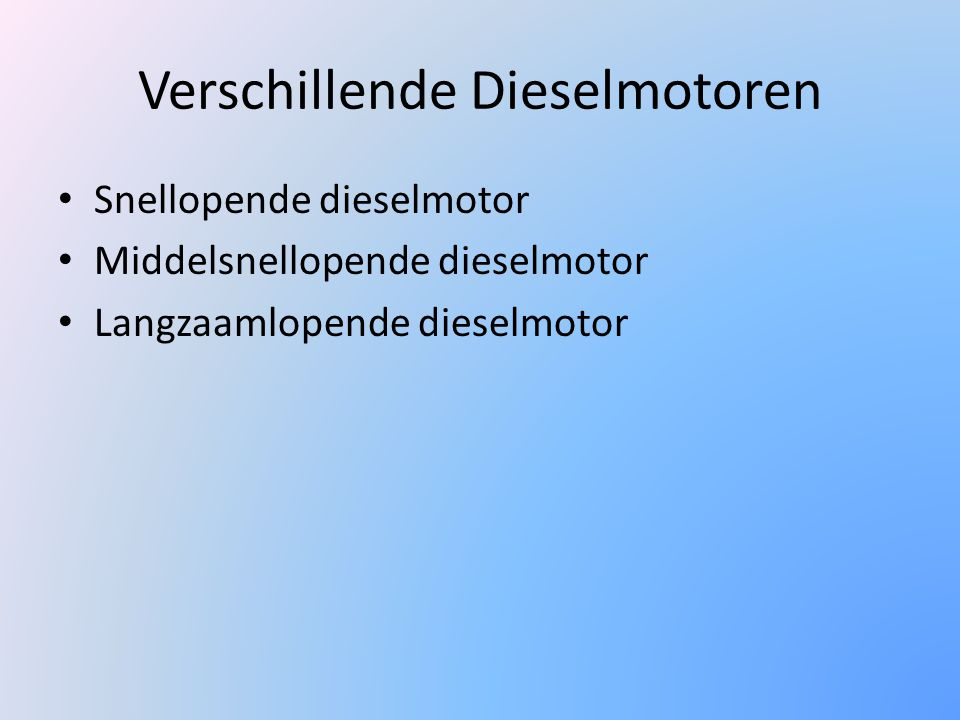 Verschillende Dieselmotoren
