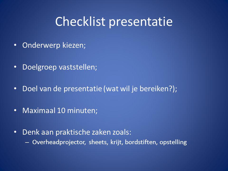 Checklist presentatie