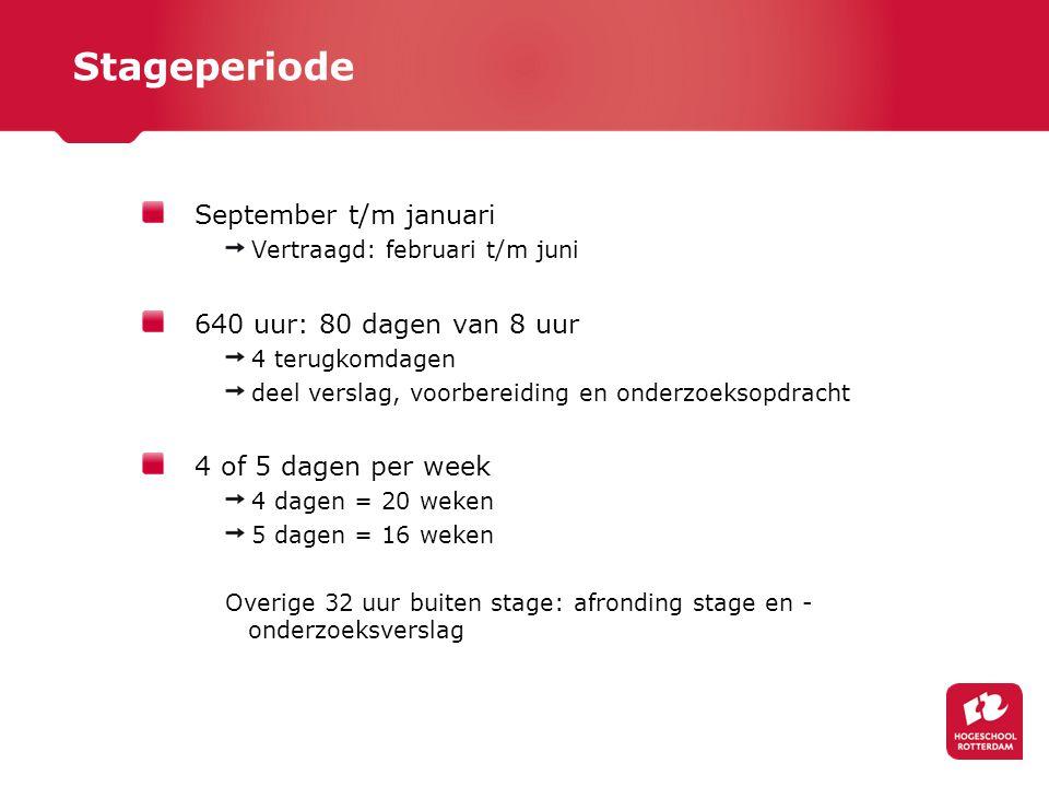 Stageperiode September t/m januari 640 uur: 80 dagen van 8 uur