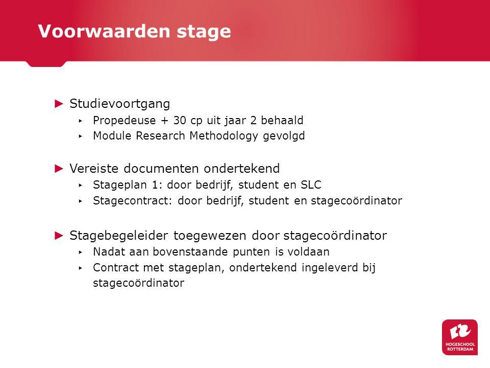 Voorwaarden stage Studievoortgang Vereiste documenten ondertekend