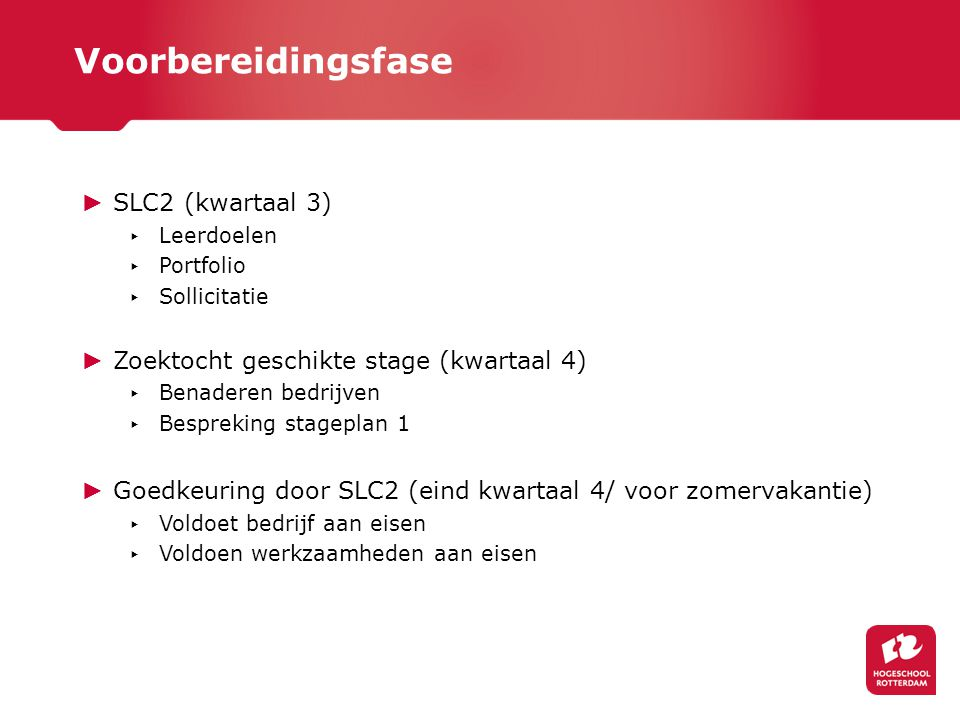 Voorbereidingsfase SLC2 (kwartaal 3)