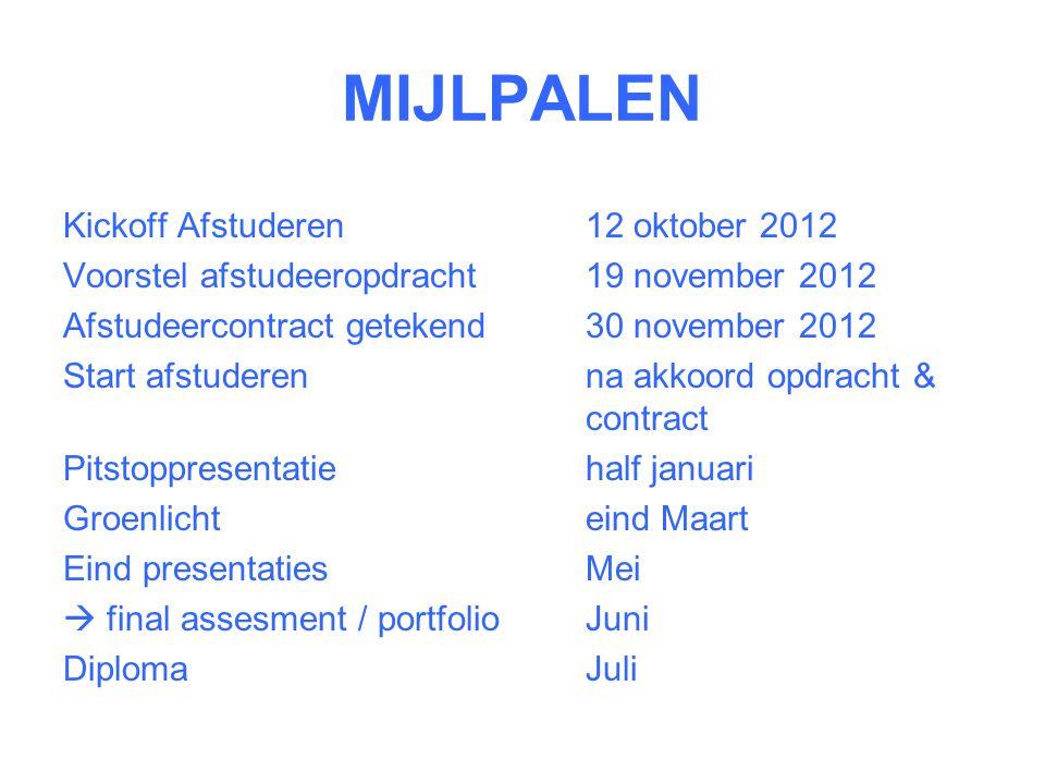MIJLPALEN Kickoff Afstuderen 12 oktober 2012