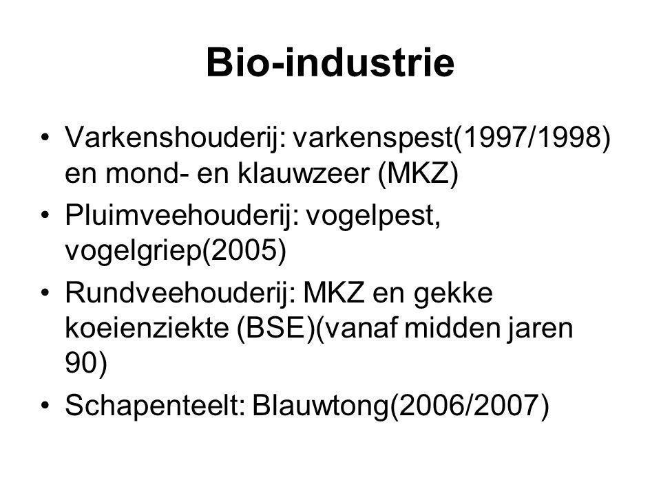 Bio-industrie Varkenshouderij: varkenspest(1997/1998) en mond- en klauwzeer (MKZ) Pluimveehouderij: vogelpest, vogelgriep(2005)