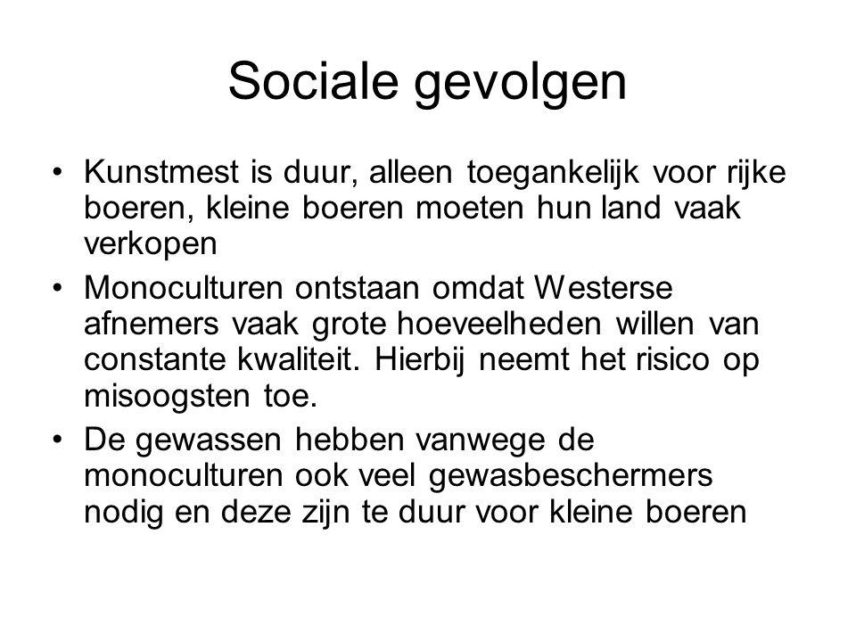 Sociale gevolgen Kunstmest is duur, alleen toegankelijk voor rijke boeren, kleine boeren moeten hun land vaak verkopen.