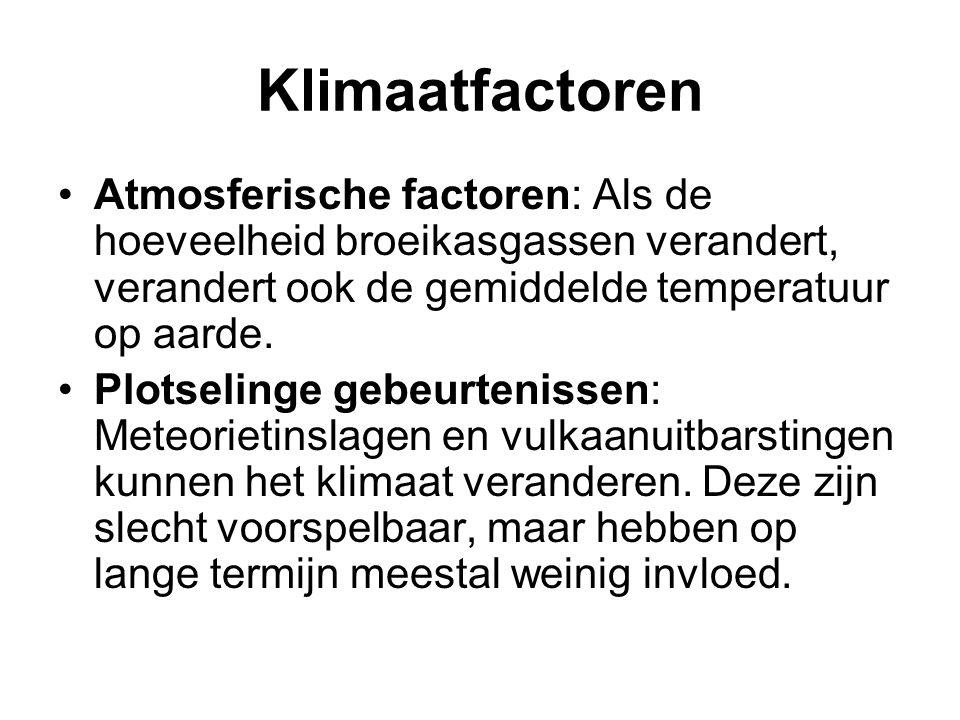 Klimaatfactoren Atmosferische factoren: Als de hoeveelheid broeikasgassen verandert, verandert ook de gemiddelde temperatuur op aarde.