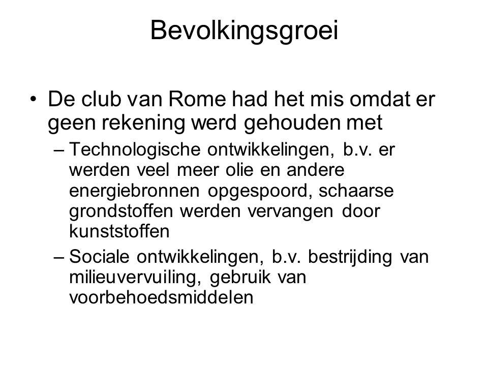 Bevolkingsgroei De club van Rome had het mis omdat er geen rekening werd gehouden met.