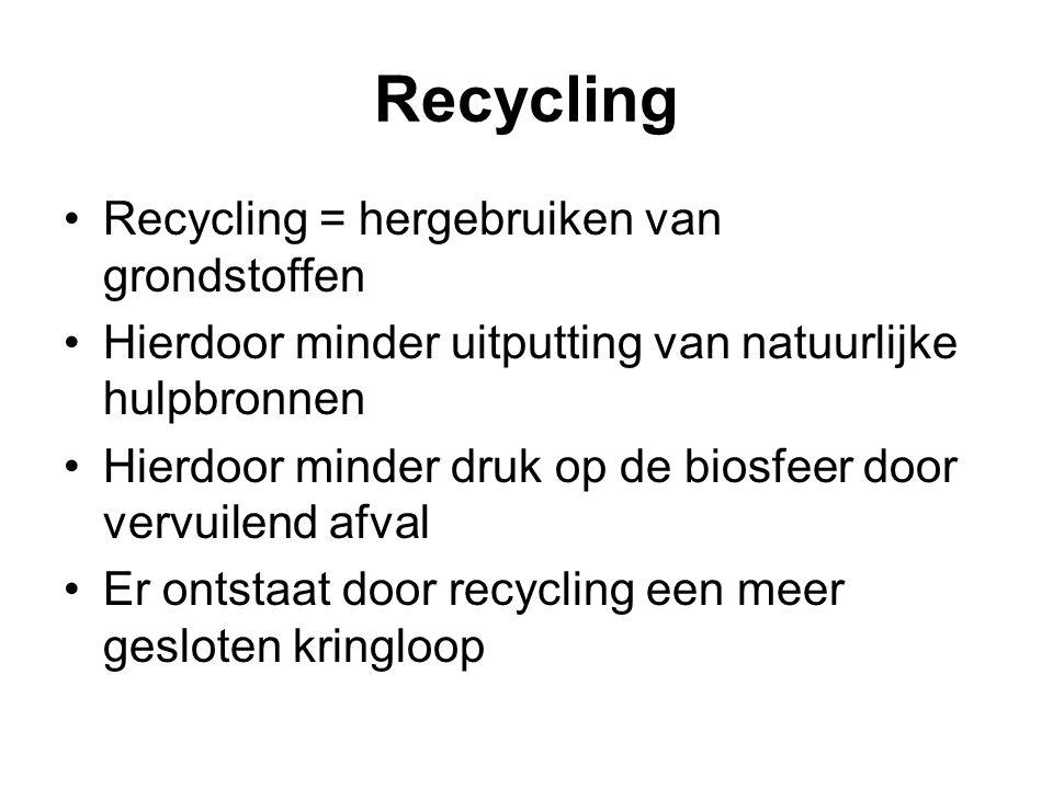 Recycling Recycling = hergebruiken van grondstoffen