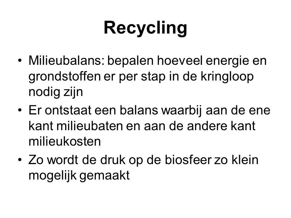 Recycling Milieubalans: bepalen hoeveel energie en grondstoffen er per stap in de kringloop nodig zijn.