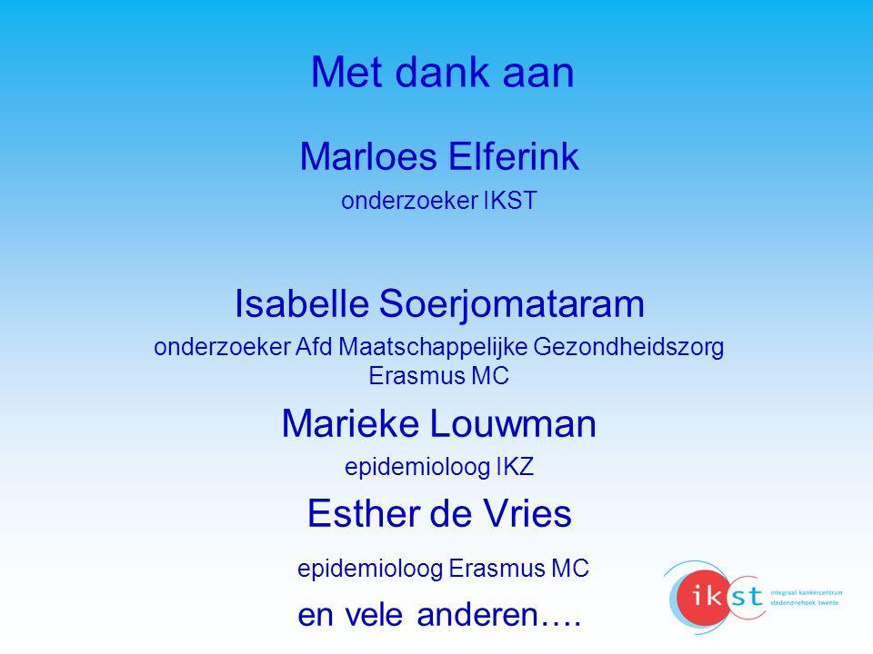 Met dank aan Marloes Elferink Isabelle Soerjomataram Marieke Louwman