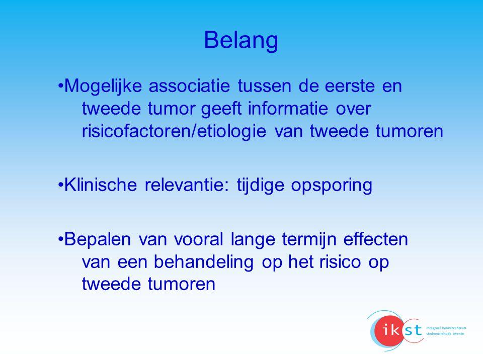 Belang Mogelijke associatie tussen de eerste en tweede tumor geeft informatie over risicofactoren/etiologie van tweede tumoren.