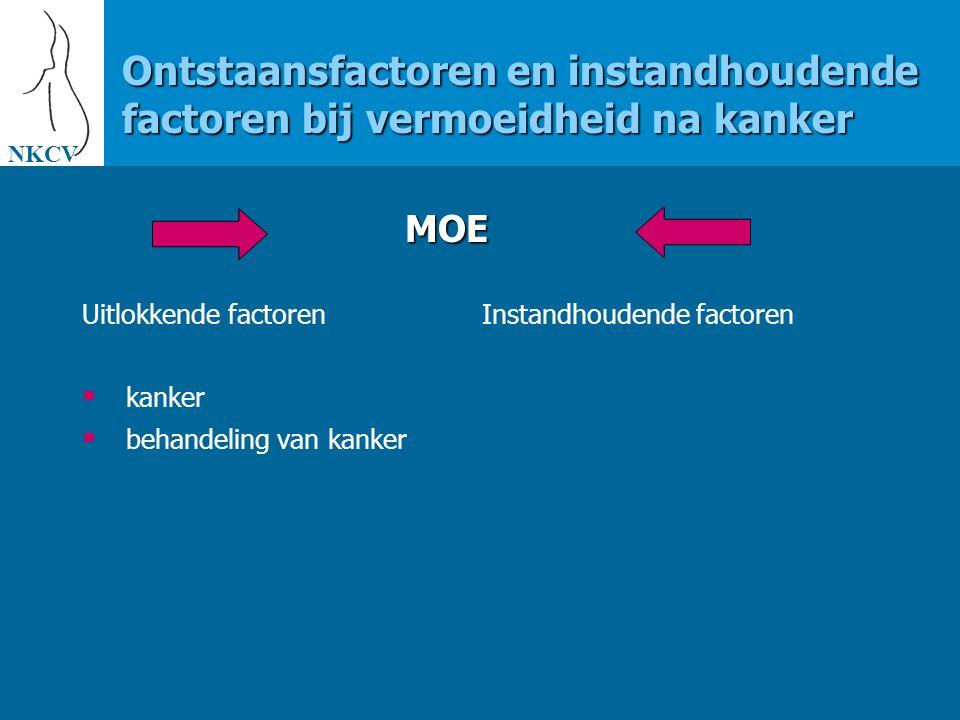 NKCV Ontstaansfactoren en instandhoudende factoren bij vermoeidheid na kanker. MOE. Uitlokkende factoren.