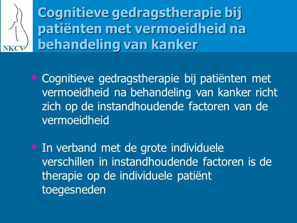 NKCV Cognitieve gedragstherapie bij patiënten met vermoeidheid na behandeling van kanker.
