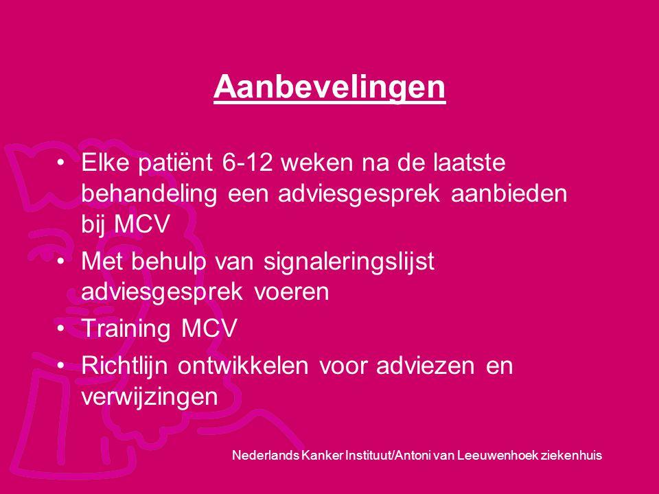 Aanbevelingen Elke patiënt 6-12 weken na de laatste behandeling een adviesgesprek aanbieden bij MCV.