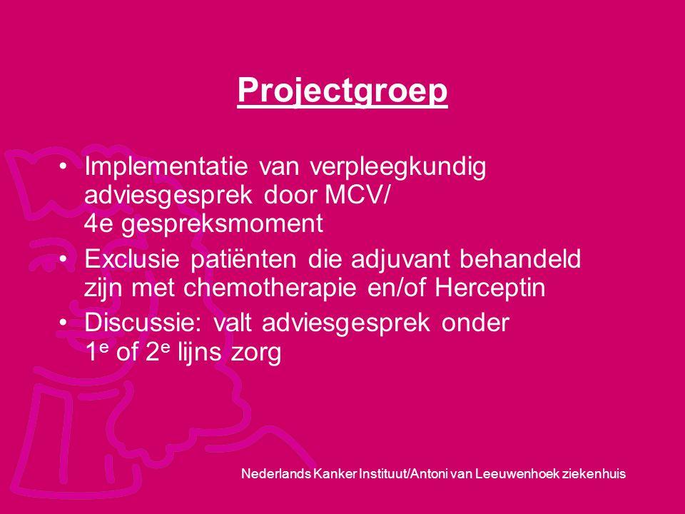 Projectgroep Implementatie van verpleegkundig adviesgesprek door MCV/ 4e gespreksmoment.