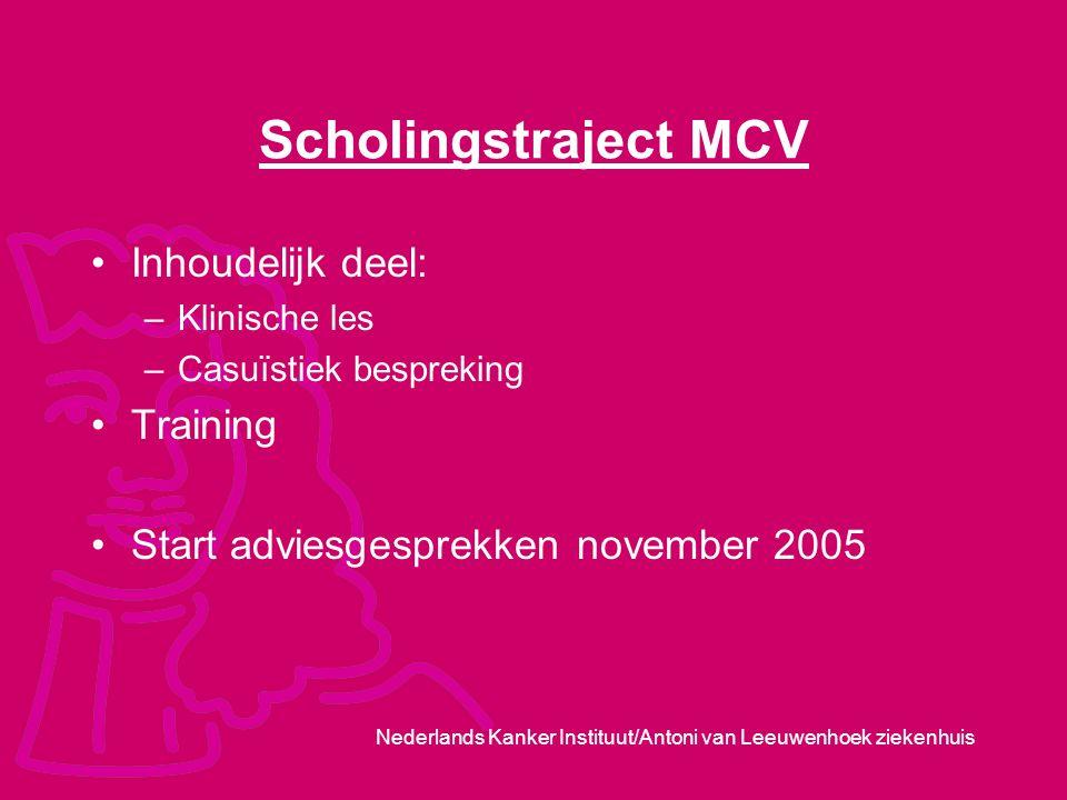 Scholingstraject MCV Inhoudelijk deel: Training