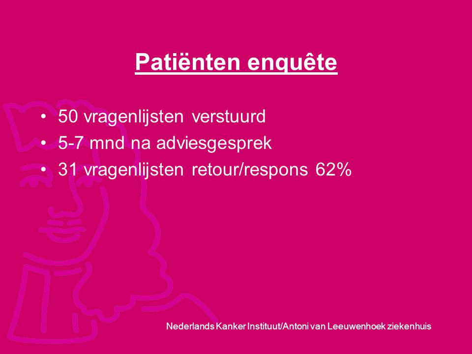 Patiënten enquête 50 vragenlijsten verstuurd 5-7 mnd na adviesgesprek