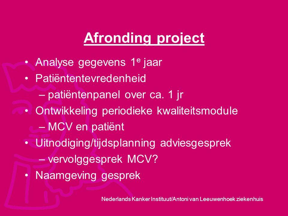 Afronding project Analyse gegevens 1e jaar Patiëntentevredenheid