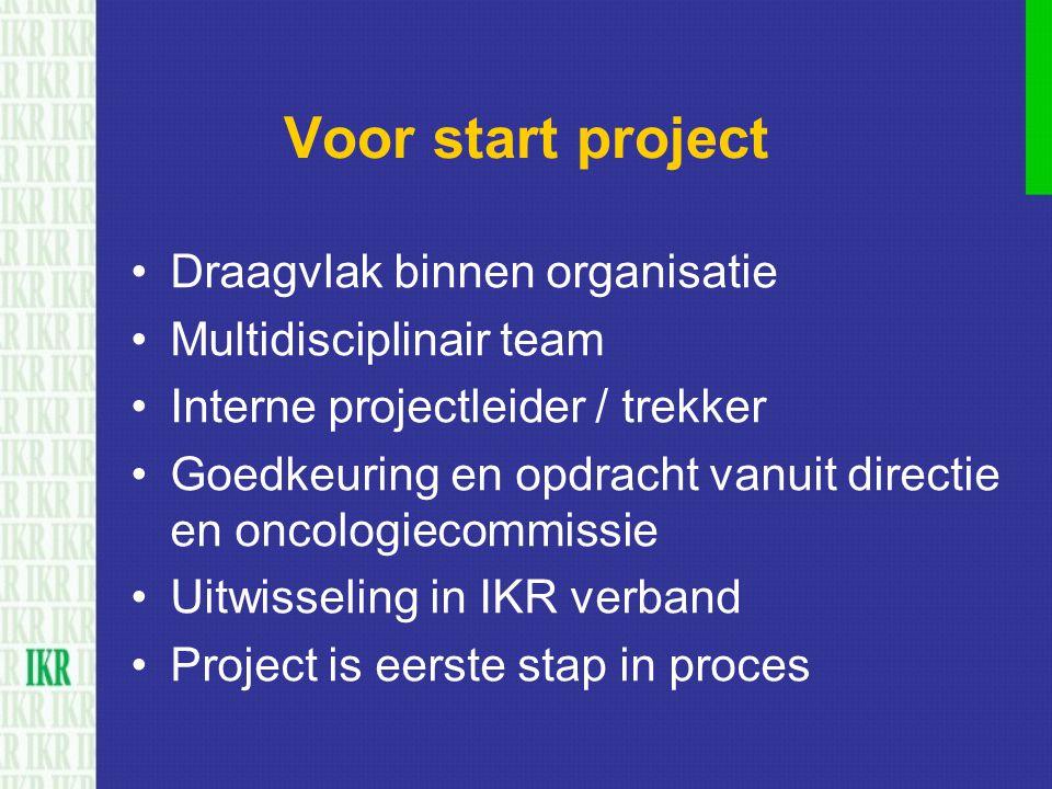 Voor start project Draagvlak binnen organisatie Multidisciplinair team