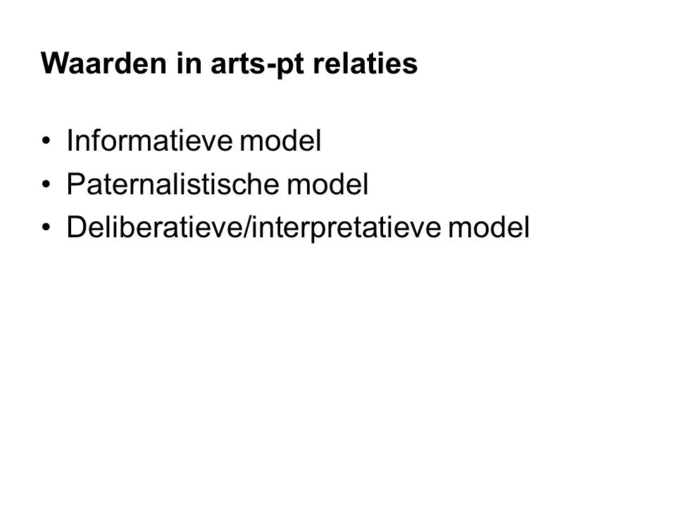 Waarden in arts-pt relaties