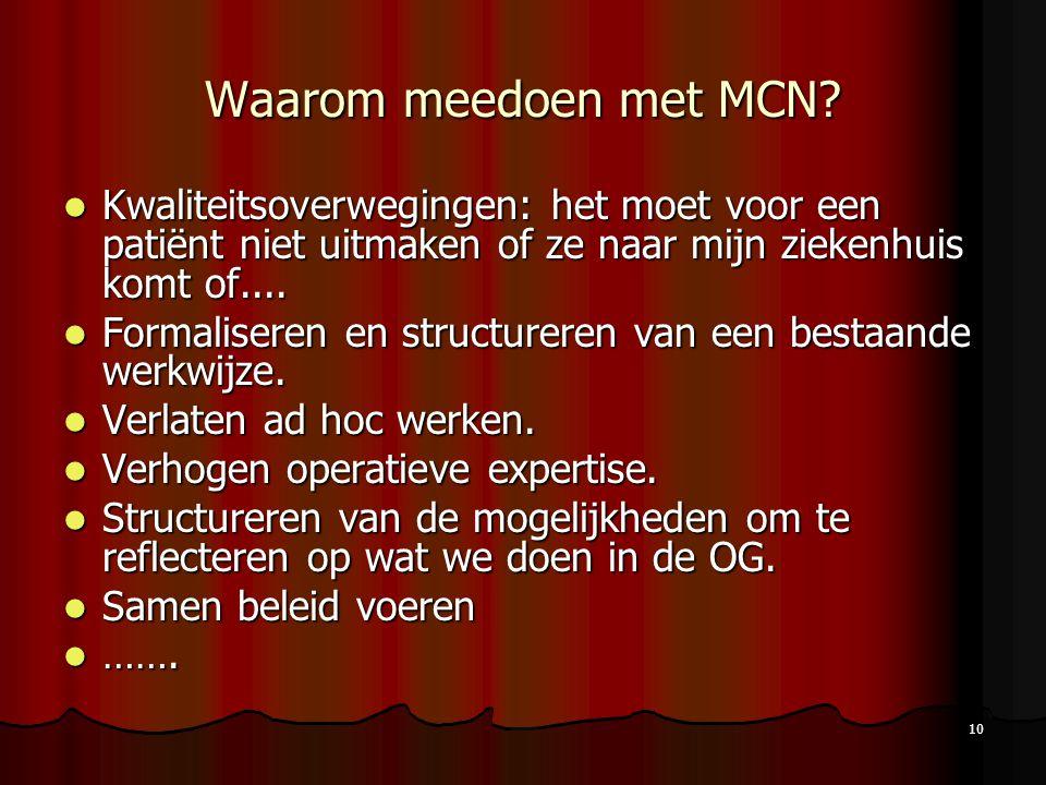 Waarom meedoen met MCN Kwaliteitsoverwegingen: het moet voor een patiënt niet uitmaken of ze naar mijn ziekenhuis komt of....