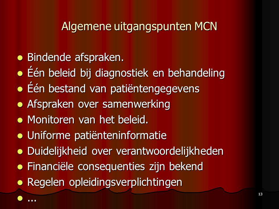 Algemene uitgangspunten MCN