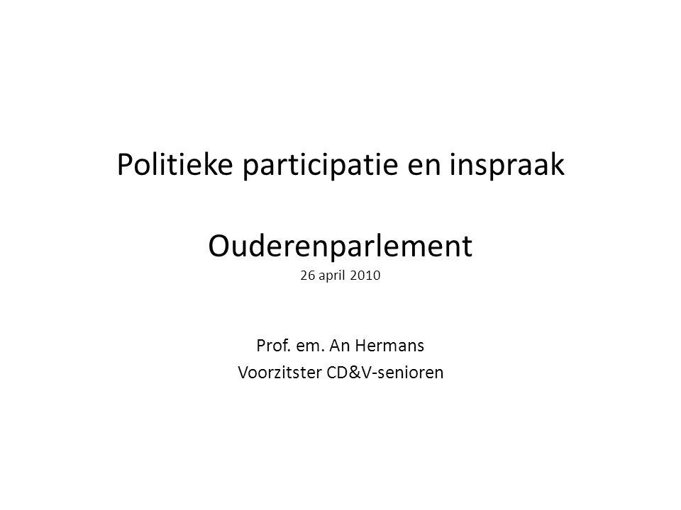 Politieke participatie en inspraak Ouderenparlement 26 april 2010