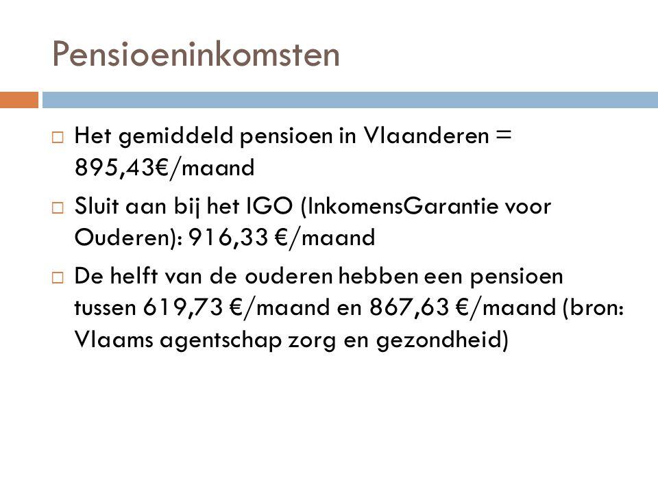Pensioeninkomsten Het gemiddeld pensioen in Vlaanderen = 895,43€/maand