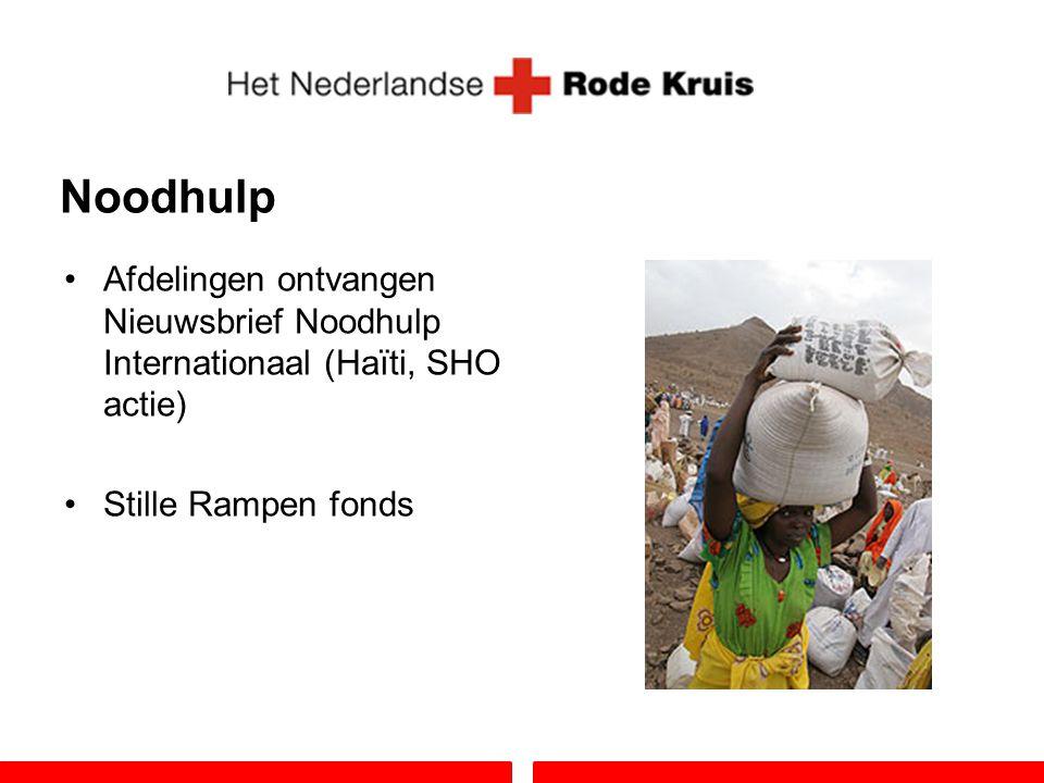 Noodhulp Afdelingen ontvangen Nieuwsbrief Noodhulp Internationaal (Haïti, SHO actie) Stille Rampen fonds.