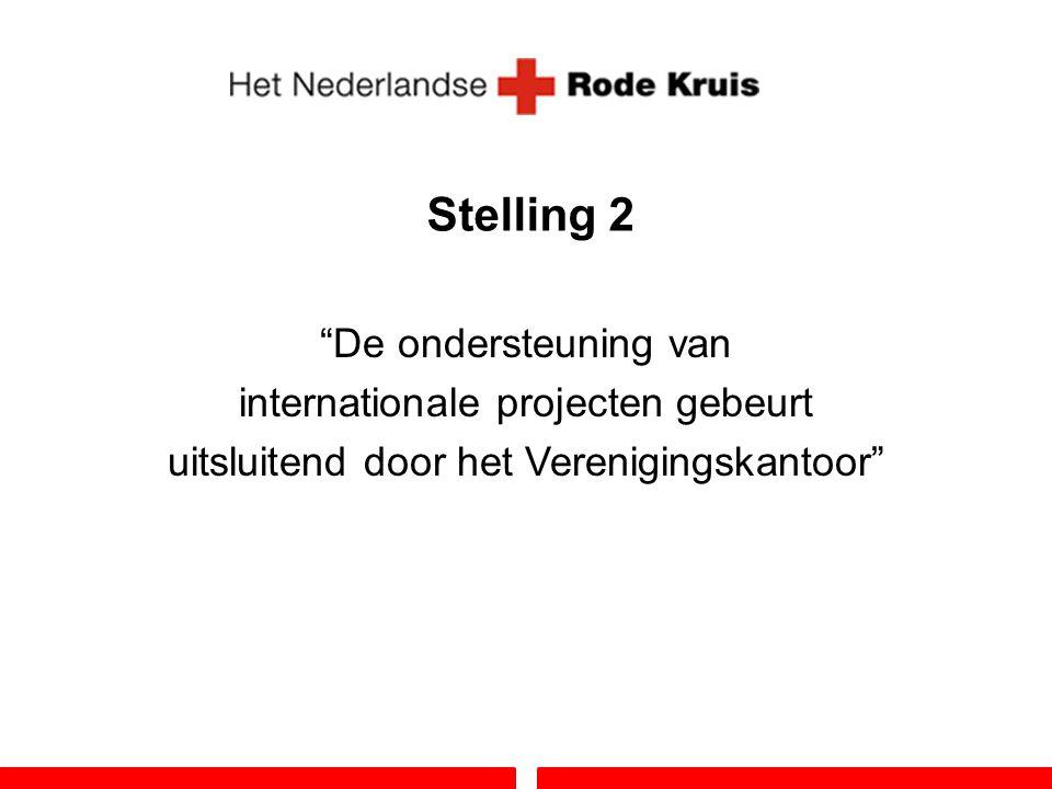 Stelling 2 De ondersteuning van internationale projecten gebeurt uitsluitend door het Verenigingskantoor