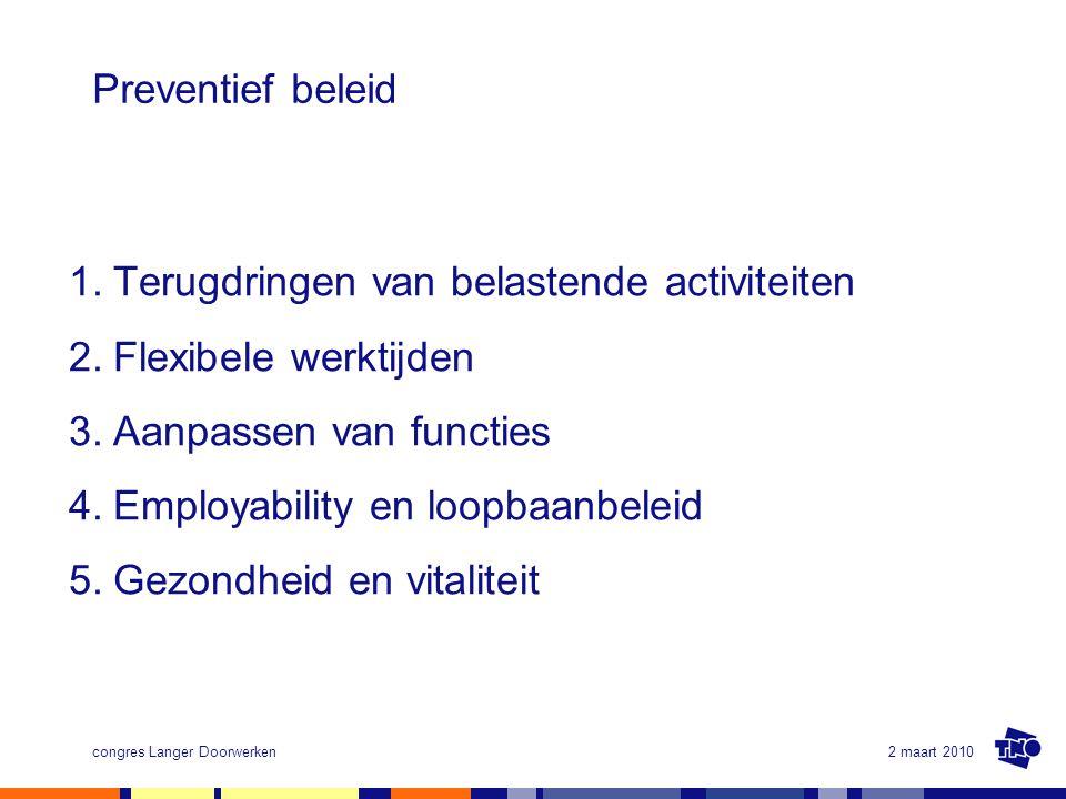Terugdringen van belastende activiteiten Flexibele werktijden