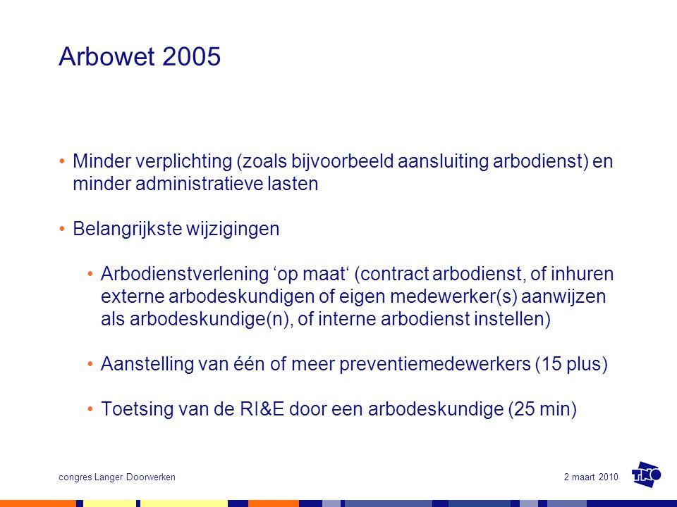 Arbowet 2005 Minder verplichting (zoals bijvoorbeeld aansluiting arbodienst) en minder administratieve lasten.