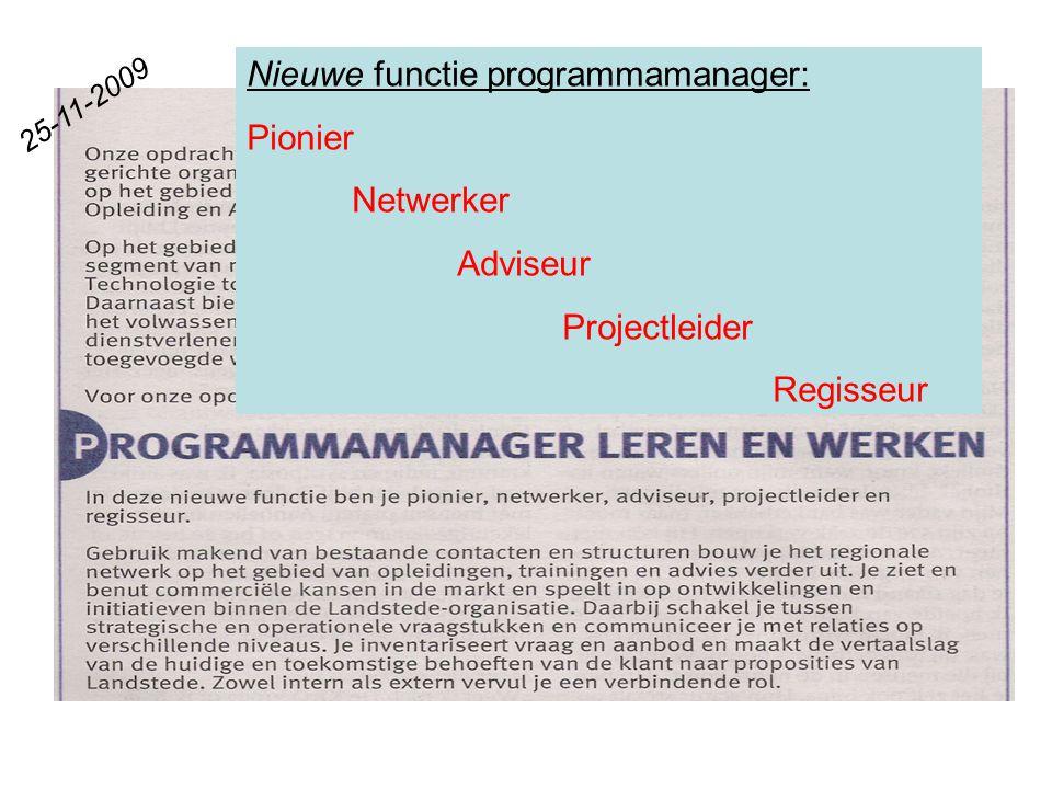Nieuwe functie programmamanager: Pionier Netwerker Adviseur