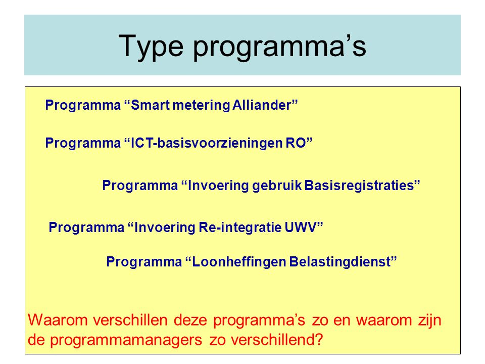 Type programma's Programma Smart metering Alliander Programma ICT-basisvoorzieningen RO Programma Invoering gebruik Basisregistraties